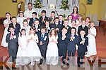 Pupils from Cullina National School, Beaufort, pictured with their teacher Lisa O'Sullivan and Fr Donal O'Connor after they received their First Holy Communion in St Marys church, Beaufort on Saturday. ..................