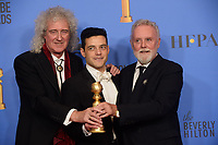 After winning the category of BEST PERFORMANCE BY AN ACTOR IN A MOTION PICTURE &ndash; DRAMA for his role in &quot;Bohemian Rhapsody,&quot; actor Rami Malek with Brian May and Roger Taylor pose backstage in the press room with his Golden Globe Award at the 76th Annual Golden Globe Awards at the Beverly Hilton in Beverly Hills, CA on Sunday, January 6, 2019.<br /> *Editorial Use Only*<br /> CAP/PLF/HFPA<br /> Image supplied by Capital Pictures
