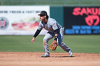 Salt River Rafters second baseman Bryson Brigman (15), of the Miami Marlins organization, during an Arizona Fall League game against the Surprise Saguaros on October 9, 2018 at Surprise Stadium in Surprise, Arizona. The Rafters defeated the Saguaros 10-8. (Zachary Lucy/Four Seam Images)