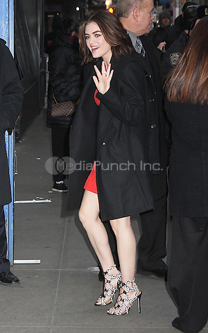 NEW YORK, NY - JANUARY 12: Lucy Hale arrives at 'Good Morning America' to talk about the premiere of season 6 of the second half of 'Pretty Little Liars' in New York. in New York, in New York, New York on January 12, 2016. Photo Credit: Rainmaker Photo/MediaPunch
