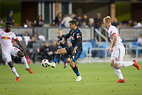 San Jose, CA - Saturday October 06, 2018: Chris Wondolowski, Kemar Lawrence during a Major League Soccer (MLS) match between the San Jose Earthquakes and the New York Red Bulls at Avaya Stadium.