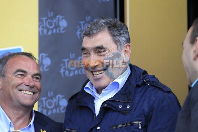 Former Tour Champions Bernard Hinault (FRA) and Eddy Merckx (BEL) on the podium for the prize giving in Arenberg at the end of Stage 5 of the 2014 Tour de France running 155.5km from Ypres to Arenberg. 9th July 2014.<br /> Picture: Eoin Clarke www.newsfile.ie