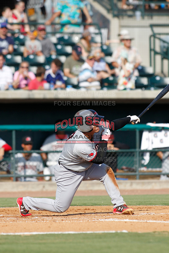 Hickory Crawdads catcher Yohel Pozo (3) at bat during a game against the Charleston Riverdogs at the Joseph P. Riley Ballpark in Charleston, South Carolina.  Hickory defeated Charleston 8-7. (Robert Gurganus/Four Seam Images)