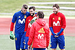Spain's David De Gea, Nacho Fernandez and Sergio Ramos during training session. March 22,2017.(ALTERPHOTOS/Acero)