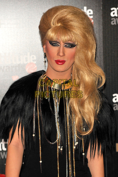 Jodie Harsh.The Attitude Magazine Awards at One Mayfair, London, England. .October 16th, 2012.half length black feathers top red lipstick make-up gold necklace .CAP/CJ.©Chris Joseph/Capital Pictures.