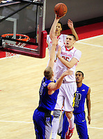 Alex Len of the Terrapins dominated the Blue Devils with 19 points, 9 rebound and three block shots. Maryland defeated Duke 81-83 at the Comcast Center in College Park, MD on Saturday, February 16, 2013. Alan P. Santos/DC Sports Box