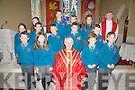 Making their Confirmation in the Church of St Michael the Archangel in Dungeagan on Tuesday were pupils from S.N. Naomh Mhichil front l-r; Séamus Ó Duibhir, Jenny Ní Chuinneagáin, Bishop Ray Browne, Mikey Ó Cuinneagáin, Senan Ó Conaill, back l-r; Clár Ní Chonnchúir, Emma Ní Dhuilleáin, Dillon Oum, Pádraig Ó Céilleacháin, Daniel Ó Crónín, Aindí Ó Conaill, Emmet Ó Sé, Amy Ní Shiochrú, Marc Ó Connroí agus Fr David Gunn.
