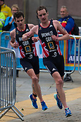 June 11th 2017, Leeds, Yorkshire, England; ITU World Triathlon Leeds 2017; Bothers Alistair Brownlee ahead of Jonathan Brownlee (gbr) in the run