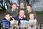 Rudy Glinwood, Adam Neary, Emma O'Sullivan, Emma Coffey and Ciara O'Sullivan, Cullina National School, Beaufort with Jack Healy, who is running the Cullina Glee Club as part of the Primary Schools Amateur Musicals Theater Programme.