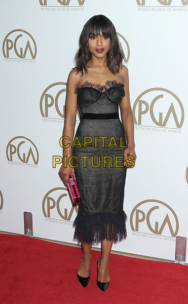 Kerry Washington.At the 24th Annual Producers Guild Awards held at the Beverly Hilton Hotel, Beverly Hills, California, USA,.26th January 2013..PGAs PGA arrivals full length black corset strapless dress eyelash lace trim hem ruffle shoes pink clutch bag   bustier .CAP/ADM/RE.©Russ Elliot/AdMedia/Capital Pictures.