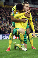 Tom Trybull of Norwich City celebrates his goal and getting Norwich back level during Norwich City vs Millwall, Sky Bet EFL Championship Football at Carrow Road on 1st January 2018