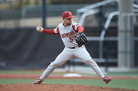 Arkansas Razorbacks relief pitcher Cody Scroggins (57) in action against the Charlotte 49ers at Hayes Stadium on March 21, 2018 in Charlotte, North Carolina.  The 49ers defeated the Razorbacks 6-3.  (Brian Westerholt/Four Seam Images)