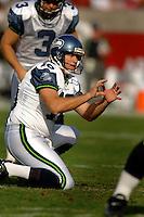 Nov. 6, 2005; Tempe, AZ, USA; Punter (16) Tom Rouen of the Seattle Seahawks against the Arizona Cardinals at Sun Devil Stadium. Mandatory Credit: Mark J. Rebilas