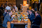 VOGELENZANG -  Eric Cornelissen (KNHB) met sponsoren, Leendert Bikker (r) van Rabobank, Spelerslunch KNHB 2019.   COPYRIGHT KOEN SUYK