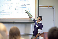 "Erik Urzua '17 presents his work on the ""Solar Robot Project."" After researching all summer, Occidental College students present their work at the annual Summer Undergraduate Research Conference on July 29, 2015.<br /> (Photo by Marc Campos, Occidental College Photographer)"