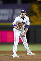 Winston-Salem Dash starting pitcher John Parke (28) looks to his catcher for the sign against the Wilmington Blue Rocks at BB&T Ballpark on April 16, 2019 in Winston-Salem, North Carolina. The Blue Rocks defeated the Dash 4-3. (Brian Westerholt/Four Seam Images)