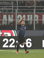 Calcio, Serie A: AC Milan - Inter Milan, Giuseppe Meazza (San Siro) stadium, Milan on 17 March 2019.  <br /> Inter's Lautaro Martinez celebrates after scoring during the Italian Serie A football match between Milan and Inter Milan at Giuseppe Meazza stadium, on 17 March 2019. <br /> UPDATE IMAGES PRESS/Isabella Bonotto