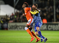 Blackpool's Armand Gnanduillet competing with Solihull Moors' Liam Daly<br /> <br /> Photographer Andrew Kearns/CameraSport<br /> <br /> The Emirates FA Cup Second Round - Solihull Moors v Blackpool - Friday 30th November 2018 - Damson Park - Solihull<br />  <br /> World Copyright © 2018 CameraSport. All rights reserved. 43 Linden Ave. Countesthorpe. Leicester. England. LE8 5PG - Tel: +44 (0) 116 277 4147 - admin@camerasport.com - www.camerasport.com
