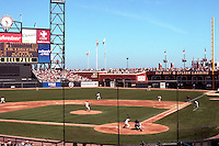 Ballparks: San Francisco Pacific Bell Park. Drops away to 420' to right center; 404' to center; 364 to left center; 335' to left.