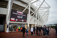 Exterior view of the stadium inluding outside screen during the Premier League match between Swansea City and Bournemouth at The Liberty Stadium, Swansea, Wales, UK. Saturday 31 december 2016