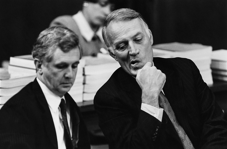 Sen. David Durenberger, R-Minn., and his attorney James Hamilton on first day of hearings before the Senate Ethics Committee on June 1990. (Photo by Maureen Keating/CQ Roll Call via Getty Images)