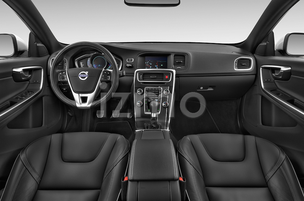 Stock photo of straight dashboard view of a 2014 Volvo V60 Summum R-design 5 Door Wagon 2WD Dashboard