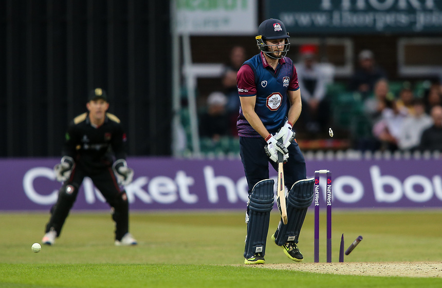 Northamptonshire's Alex Wakely has his off stump broken by Leicestershire's Matt Pillans<br /> <br /> Photographer Andrew Kearns/CameraSport<br /> <br /> NatWest T20 Blast - Leicestershire Foxes vs Northamptonshire Steelbacks - Friday 21st July 2017 - Grace Road Leicester <br /> <br /> World Copyright &copy; 2017 CameraSport. All rights reserved. 43 Linden Ave. Countesthorpe. Leicester. England. LE8 5PG - Tel: +44 (0) 116 277 4147 - admin@camerasport.com - www.camerasport.com
