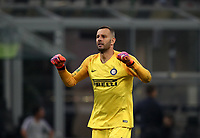 Football Soccer: UEFA Champions League FC Internazionale Milano vs Tottenham Hotspur FC, Giuseppe Meazza stadium, September 15, 2018.<br /> Inter's goalkeeper Samir Handanovic celebrates after their first goal in action during the Uefa Champions League football match between Internazionale Milano and Tottenham Hotspur at Giuseppe Meazza (San Siro) stadium, September 18, 2018.<br /> UPDATE IMAGES PRESS/Isabella Bonotto