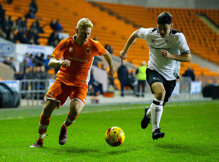 Blackpool's Owen Watkinson takes on Derby County's Eiran Cashin<br /> <br /> Photographer Alex Dodd/CameraSport<br /> <br /> The FA Youth Cup Third Round - Blackpool U18 v Derby County U18 - Tuesday 4th December 2018 - Bloomfield Road - Blackpool<br />  <br /> World Copyright © 2018 CameraSport. All rights reserved. 43 Linden Ave. Countesthorpe. Leicester. England. LE8 5PG - Tel: +44 (0) 116 277 4147 - admin@camerasport.com - www.camerasport.com
