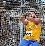 SIOUX FALLS, SD - MAY 2:  Kyle Anderson from South Dakota State University throws the hammer Friday afternoon at the Howard Wood Dakota Relays. (Photo by Dave Eggen/Inertia)