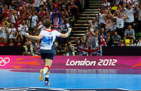 28 JUL 2012 - LONDON, GBR - Lyn Byl (GBR) of Great Britain celebrates scoring during the women's London 2012 Olympic Games Preliminary round handball match against Montenegro at The Copper Box in the Olympic Park, in Stratford, London, Great Britain .(PHOTO (C) 2012 NIGEL FARROW)
