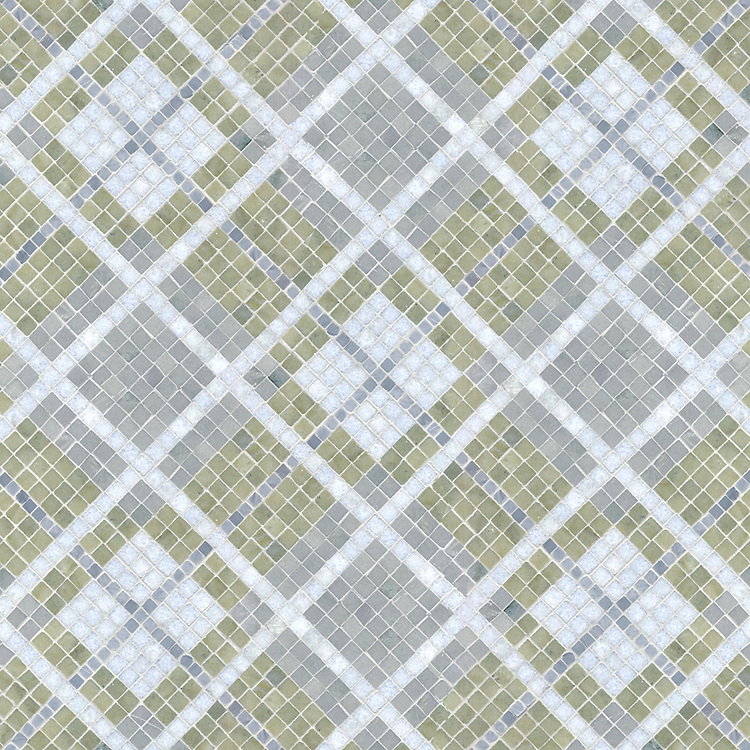 Plaid, a stone mosaic shown  in Bardiglio, Celeste, Verde Luna,and Kay's Green polished.
