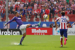 Atletico de Madrid´s Juanfran (R) and Espanyol´s Garcia during 2014-15 La Liga Atletico de Madrid V Espanyol match at Vicente Calderon stadium in Madrid, Spain. October 19, 2014. (ALTERPHOTOS/Victor Blanco)