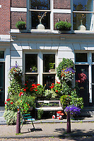 Quaint well-kept renovated traditional houses in the upmarket Noordermarkt - Northern Market  area of Jordaan, Amsterdam