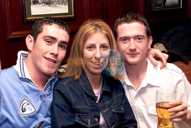 Ryan Cawley, Celine Reid and Sean Lynch enjoying a night out in the Trinity Arms..Picture Paul Mohan Newsfile