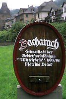 Germany Bacharach famous wine village sign in mountains  by Rhine River