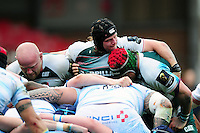 Harry Thacker and the rest of the Leicester Tigers forwards pack down for a scrum. European Rugby Champions Cup semi final, between Leicester Tigers and Racing 92 on April 24, 2016 at The City Ground in Nottingham, England. Photo by: Patrick Khachfe / JMP