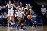 DURHAM, NC - DECEMBER 29: Liberty Iva Ilic (CRO) (24) and Duke's Lexie Brown (4). The Duke University Blue Devils hosted the Liberty University Flames on December 29, 2017 at Cameron Indoor Stadium in Durham, NC in a Division I women's college basketball game. Duke won the game 68-51.