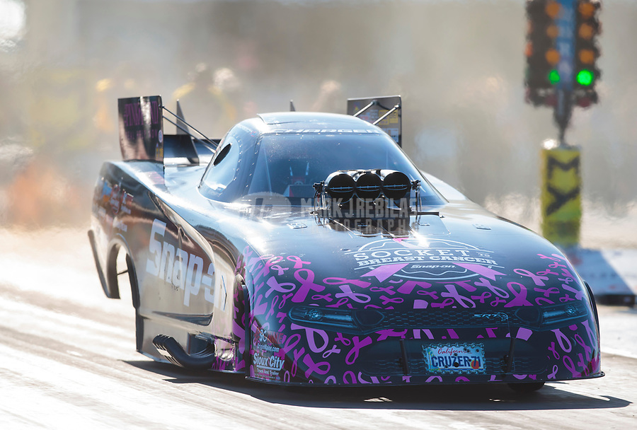 Oct 18, 2019; Ennis, TX, USA; NHRA funny car driver Cruz Pedregon during qualifying for the Fall Nationals at the Texas Motorplex. Mandatory Credit: Mark J. Rebilas-USA TODAY Sports