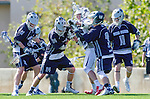 Los Angeles, CA 03/12/16 - Corbin Keicher (Utah State #3),Taylor Brundage (Utah State #33), Levi Law (Utah State #24), Porter Mcfadden (Utah State #11) in action during the Utah State vs Loyola Marymount MCLA Men's Division I game at Leavey Field at LMU.  Utah State defeated LMU 17-4.