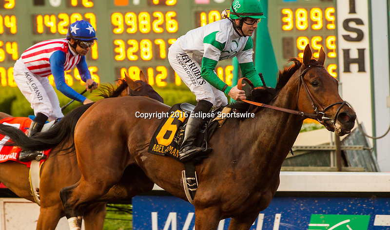 LOS ALAMITOS, CA DECEMBER 10: #6 Abel Tasman, ridden by Joseph Talamo, wins The Starlet (Gl) at Los Alamitos Race Track on December 10, 2016 at Los Alamitos, Ca.(Photo by Casey Phillips/Eclipse Sportswire/Getty Images)