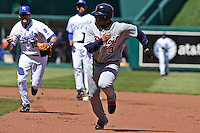 Detroit DH Gary Sheffield gets caught in a rundown by Royals second baseman Mark Grudzielanek  at Kauffman Stadium in Kansas City, Missouri on April 7, 2007.  The Tigers won 6-5.