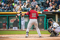 Adam Duvall (37) of the Sacramento River Cats at bat against the Salt Lake Bees in Pacific Coast League action at Smith's Ballpark on April 17, 2015 in Salt Lake City, Utah.  (Stephen Smith/Four Seam Images)