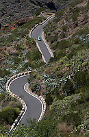 Winding road through the mountains of Masca, Tenerife, Canary Islands.