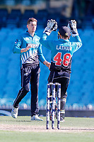 13th March 2020, Sydney Cricket Ground, Sydney, Australia;  Mitchell Santner celebrates with Tom Latham after taking the wicket of Aaron Finch. International One Day Cricket. Australia versus New Zealand Blackcaps, Chappell–Hadlee Trophy, Game 1.