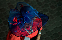 LOUISVILLE, KY - MAY 03: A woman wears a fancy hat during Thurby at Churchill Downs on May 3, 2018 in Louisville, Kentucky. (Photo by Scott Serio/Eclipse Sportswire/Getty Images)
