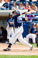 Austin Schotts (5) of the West Michigan Whitecaps follows through on his swing against the Quad Cities River Bandits at Fifth Third Ballpark on May 5, 2013 in Comstock Park, Michigan.  The River Bandits defeated the Whitecaps 5-4.  (Brian Westerholt/Four Seam Images)