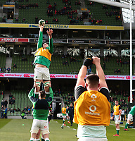 8th February 2020; Aviva Stadium, Dublin, Leinster, Ireland; International Six Nations Rugby, Ireland versus Wales; Devin Toner (Ireland) stretches for a lineout ball during the warmup