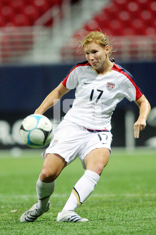 USA (17) Lori Chalpuny. The United States Women's National Team defeated Mexico 5-1 in an international friendly at the Edward Jones Dome in St Louis, MO on October 13, 2007.