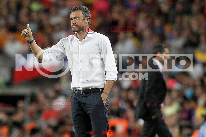 FC Barcelona's coach Luis Enrique Martinez (l) and Athletic de Bilbao's coach Ernesto Valverde during Supercup of Spain 2nd match.August 17,2015. (ALTERPHOTOS/Acero)